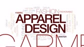 garment : Apparel design animated word cloud, text design animation. Kinetic typography.