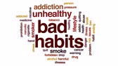 злоупотребление : Bad habits animated word cloud, text design animation. Стоковые видеозаписи