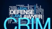 julgamento : Defense lawyer animated word cloud, text design animation. Vídeos