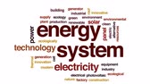 buňka : Energy system animated word cloud, text design animation.