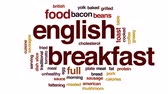 sausage slice : English breakfast animated word cloud, text design animation. Stock Footage