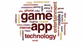 app : Game app animated word cloud, text design animation.