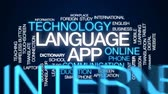 dilbilgisi : Language app animated word cloud, text design animation. Stok Video