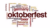 yiyecek ve içecek : Oktoberfest animated word cloud, text design animation.