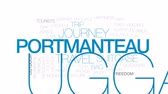 bag : Portmanteau animated word cloud, text design animation. Kinetic typography. Stock Footage