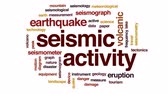 извержение : Seismic activity animated word cloud, text design animation.