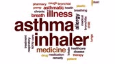 alergia : Asthma inhaler animated word cloud, text design animation.