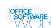 trabalho em equipe : Office software animated word cloud, text design animation. Kinetic typography. Stock Footage