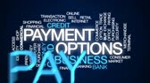 банковское дело : Payment options animated word cloud, text design animation.