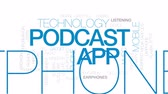 radyo : Podcast app animated word cloud, text design animation. Kinetic typography. Stok Video