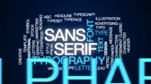 tipo de letra : Sans serif animated word cloud, text design animation. Stock Footage