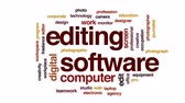 pracoviště : Editing software animated word cloud, text design animation.