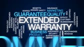 promessa : Extended warranty animated word cloud, text design animation.