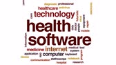 app : Health software animated word cloud, text design animation.