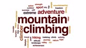 альпинист : Mountain climbing animated word cloud, text design animation.