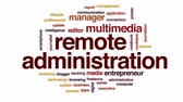 güncelleştirme : Remote administration animated word cloud, text design animation. Stok Video