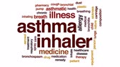 léčba : Asthma inhaler animated word cloud, text design animation.