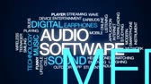 app : Audio software animated word cloud, text design animation. Stock Footage