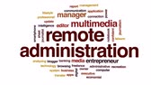 caderno : Remote administration animated word cloud, text design animation. Stock Footage