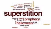суеверие : Superstition animated word cloud, text design animation.