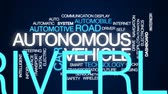 akıllı : Autonomous vehicle animated word cloud, text design animation. Stok Video