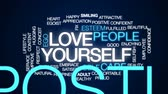 benlik : Love yourself  animated word cloud, text design animation.