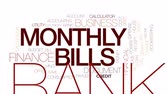 kalkulačka : Monthly bills animated word cloud, text design animation. Kinetic typography.
