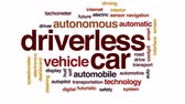 датчик : Driverless car animated word cloud, text design animation.