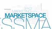 caderno : Market space animated word cloud, text design animation. Kinetic typography