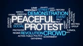 karşı : Peaceful protest animated word cloud, text design animation. Stok Video