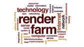 technician : Render farm animated word cloud, text design animation.