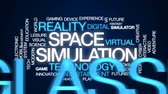 sanal : Space simulation animated word cloud, text design animation. Stok Video