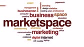 not defteri : Market space animated word cloud, text design animation.
