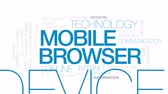 mobil : Mobile browser animated word cloud, text design animation. Kinetic typography.