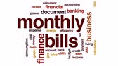 счета : Monthly bills animated word cloud, text design animation.