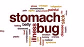 bolestivý : Stomach bug animated word cloud, text design animation.