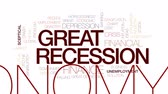 hospodářství : Great recession animated word cloud, text design animation. Kinetic typography.
