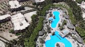 Aerial 4k footage of a Hotel and Hotel swimming pool in Cape Verde (Capo Verde) taken may 2018