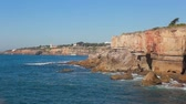 Boca Do Inferno famous view ocean Lisbon Stock Footage