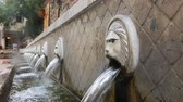 lion fountain greek statue waterfall Stock Footage