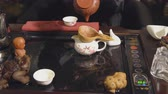 жаба : Preparation of the tea ceremony. Master brews tea.