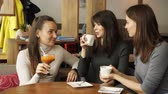 Three girlfriends are meeting in cafe. Drinking beverages and talking each other. Front view. Стоковые видеозаписи