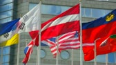 атрибут : Flags of the different countries against the business center