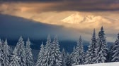 снегопад : Majestic sunset in the mountains landscape. Carpathian, Ukraine. Time lapse, stop-motion clip. HD video (High Definition) Стоковые видеозаписи