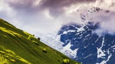 путешествие : Time lapse clip. Dramatic sky at the foot of  Tetnuldi glacier. Upper Svaneti, Georgia, Europe. Caucasus mountains. Beauty world. HD video (High Definition) Стоковые видеозаписи