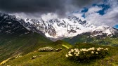 Time lapse clip. Alpine meadows at the foot of  Mt. Shkhara. Upper Svaneti, Georgia, Europe. Caucasus mountains. Beauty world. HD video (High Definition)