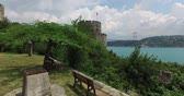 merdiven : Ancient Rumeli Fortress in Istanbul, on the shores of the Bosphorus Strait Stok Video