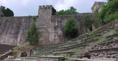 Ancient Rumeli Fortress in Istanbul, on the shores of the Bosphorus Strait Stok Video