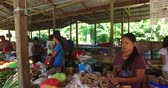 El NIDO, PHILIPPINES - FEB. 4: Village Asian market for the sale of fruit and vegetables El Nido FEB. 4, 2016 in El Nido Philippines. Stok Video