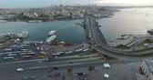 gemi : ISTANBUL, TURKEY - OCTOBER 9, 2015: Dawn over the city of Istanbul panoramic view from the birds eye view: OCTOBER 9, 2015 in Istanbul, Turkey Stok Video